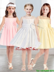See Through Scoop Little Girl Pageant Dress with Hand Made Flowers