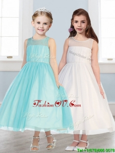 See Through Scoop Tulle Flower Girl Dress with Beading