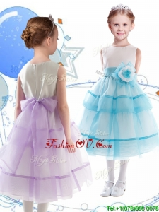 Discount Scoop Organza Flower Girl Dress with Hand Made Flowers and Ruffled Layers