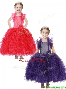 Inexpensive Straps Little Girl Pageant Dress with Hand Made Flowers and Ruffles