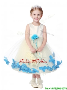 Lovely Tea Length Scoop Little Girl Pageant Dress with Hand Made Flowers and Appliques