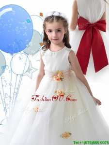 Luxurious Scoop White Little Girl Pageant Dress with Sashes and Hand Made Flowers