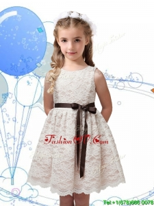Perfect Scoop Champagne Little Girl Pageant Dress with Sashes and Lace