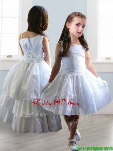 Popular Asymmetrical Neckline Detachable Little Girl Pageant Dress with Appliques