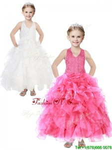 Popular V Neck Sequins and Ruffles Little Girl Pageant Dress in Organza
