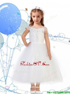 Top Selling Square Cap Sleeves Appliques Little Girl Pageant Dress in White