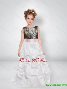 A Line Scoop Camo Flower Girl Dresses with Bowknot
