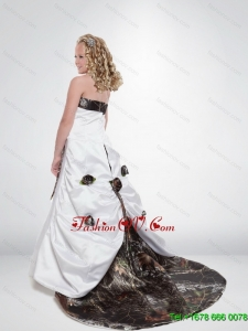 2015 A Line Strapless Camo Flower Girl Dresses with Hand Made Flowers