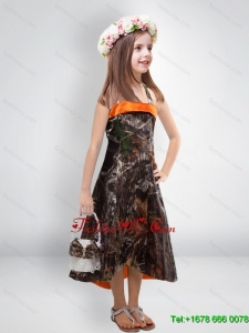 2015 High Low One Shoulder Camo Flower Girl Dresses