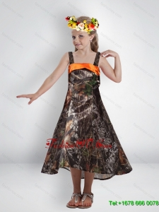 High Low Straps Camo Flower Girl Dresses with Sashes