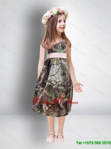 One Shoulder Tea Length Camo 2014 Flower Girl Dresses