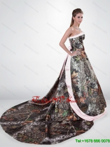 Beautiful Strapless Chapel Train Camo Wedding Dresses in Multi Color