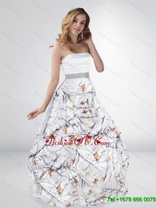 Classical Princess Strapless Camo Wedding Dresses with Sashes