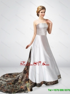 Gorgeous A Line Strapless Chapel Train Camo Wedding Dresses