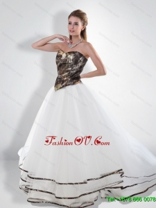 Luxurious Princess Sweetheart Court Train Camo Wedding Dresses with Beading