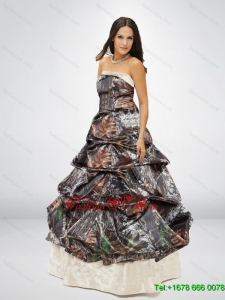 New Style Puffy Strapless Camo Wedding Dress for 2015