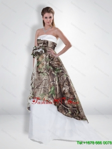 Suitable 2015 Princess Strapless Camo Wedding Dress with Brush Train