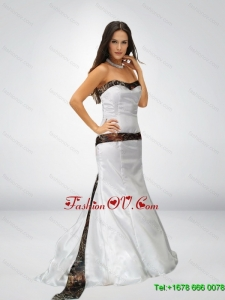 2015 Spring White Mermaid Strapless Camo Wedding Dresses with Brush Train