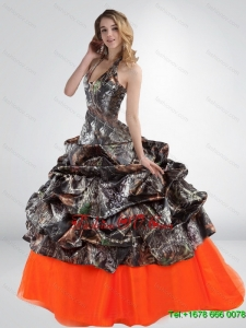 2015 Sturning Halter Top Camo Wedding Dresses with Multi Color