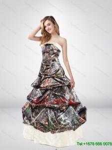 Elegant Strapless Brush Train Camo Wedding Dresses with Pick Ups