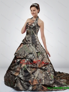 Luxurious Multi Color Court Train Halter Top Camo Wedding Dresses