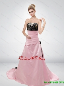 Pink A Line Strapless Fashionable Camo Wedding Dresses with Hand Made Flower