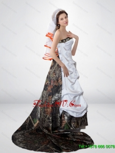 Popular A Line Strapless Court Train Camo Wedding Dresses in Multi Colo