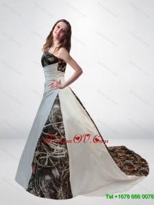 Romantic A Line Strapless Camo Wedding Dresses with Chapel Train