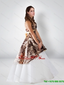 Sturning Ball Gown Halter 2015 Camo Wedding Dresses with Bowknot