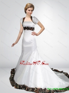 Wonderful Mermaid Strapless Camo Wedding Dresses in Court Train