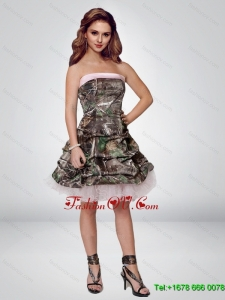 2015 Perfect Short Strapless Camo Prom Dresses with Ruching