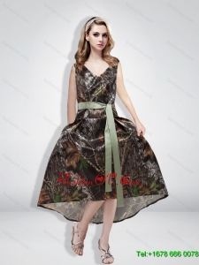 Beautiful Empire Camo Sashes Prom Dresses with V Neck for 2015