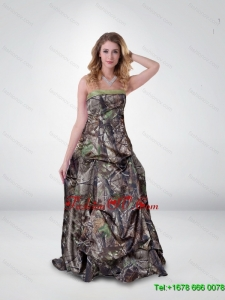 Beautiful Princess Strapless Camo Prom Dresses with Ruching