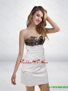 Elegant 2015 Column Sweetheart Mini Length Camo Prom Dresses