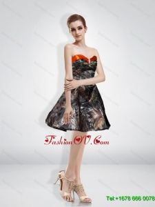 New Style A Line Sweetheart Beading Camo Prom Dresses with Knee-length