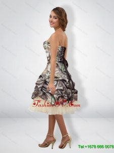Sexy 2015 Short Halter Top Camo Prom Dresses with Knee Length