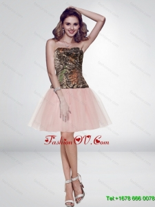 Unique Multi Color Short Strapless Pink Camo Prom Dresses