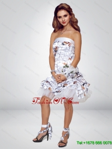 2015 Spring Short Strapless Knee-length Camo Prom Dresses