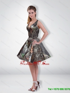Affordable A Line V Neck Beading Camo Prom Dresses with Knee Length