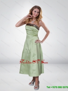 Apple Green Strapless Ankle Length Camo Prom Dresses