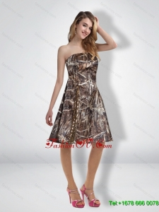 Beautiful 2015 Short Strapless Camo Prom Dresses with Knee Length