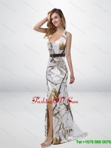 Classical Column Halter Top Camo Prom Dresses with Sashes