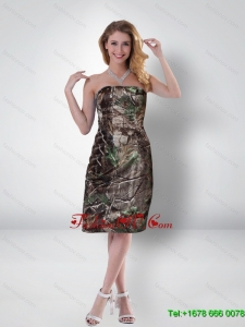 Decent Column Strapless Tea Length Camo Prom Dresses in Multi Color