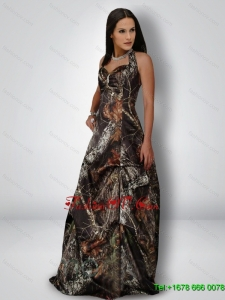 Delicate A Line Halter Top Camo Prom Dresses in Multi Color