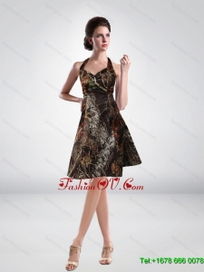 Discount Halter Top Knee Length Short Camo Prom Dresses in Multi Color