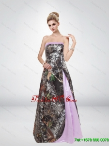 Elegant Multi Color Strapless 2015 Pretty Camo Prom Dresses