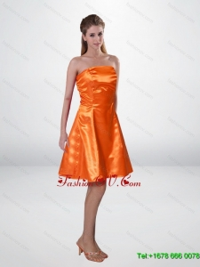 Elegant Short Strapless Orange Camo Prom Dresses with Sashes