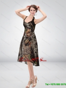 Exclusive Halter Top Tea Length Camo Prom Dresses in Multi Color