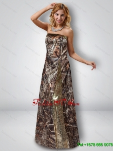 Exquisite Column Strapless Camo Prom Dresses with Sequins