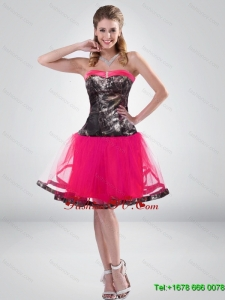Hot Pink A Line Strapless Camo Prom Dress with Beading for 2015